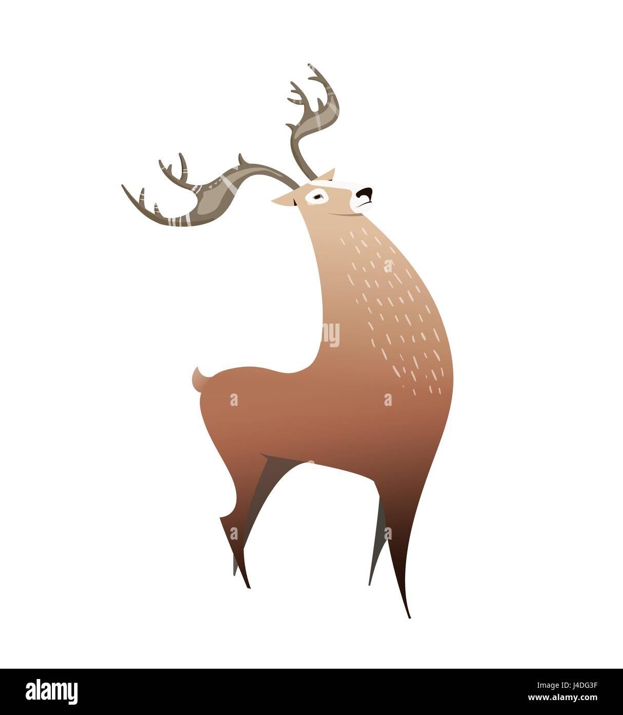 Ciervos Salvajes Con Grandes Cuernos Ilustración Estilo De Dibujos