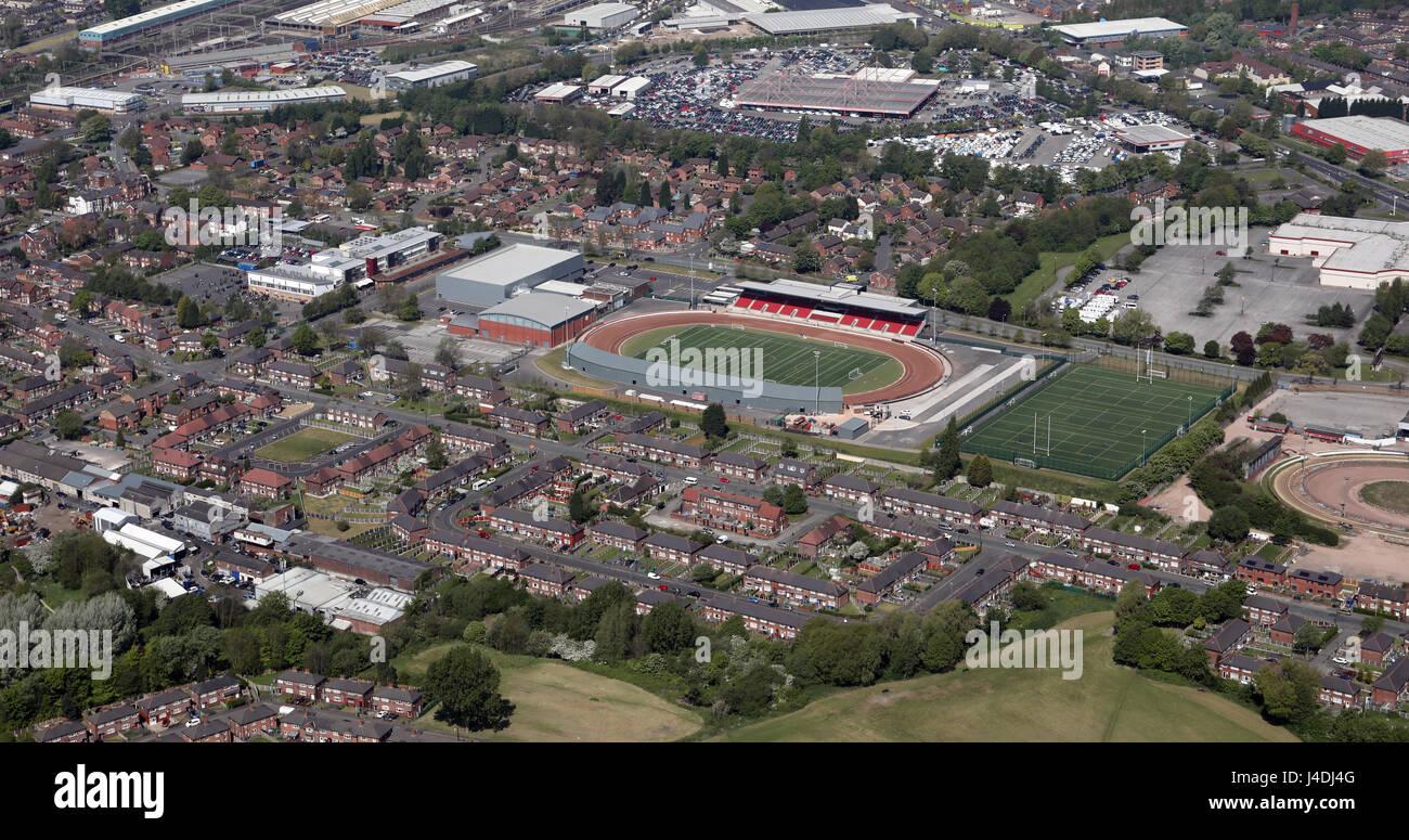Vista aérea de Belle Vue Speedway Stadium & Perro vía, Manchester, Reino Unido Imagen De Stock