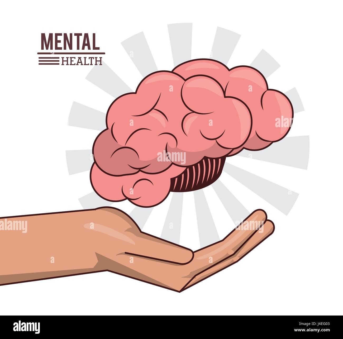 La salud mental, la mano con el cerebro humano médicos de prevención Imagen De Stock