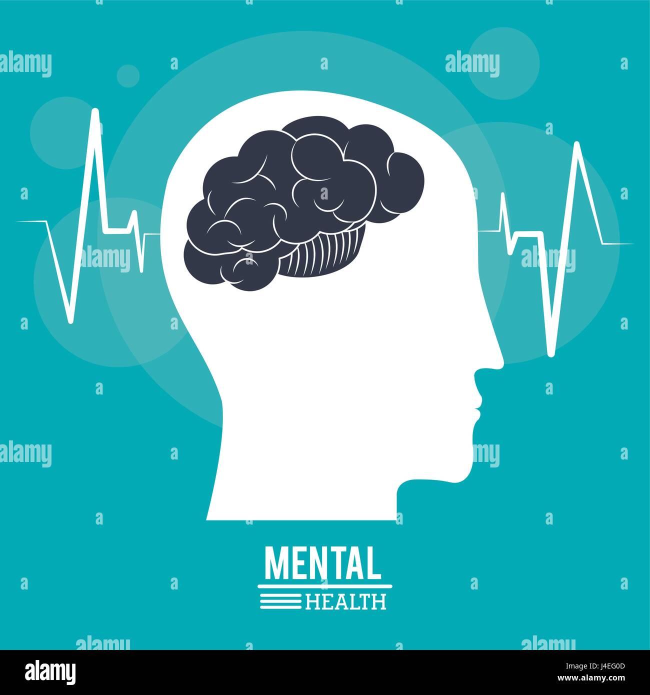 Cerebro Humano Cabeza de perfil, diseño de salud mental Imagen De Stock