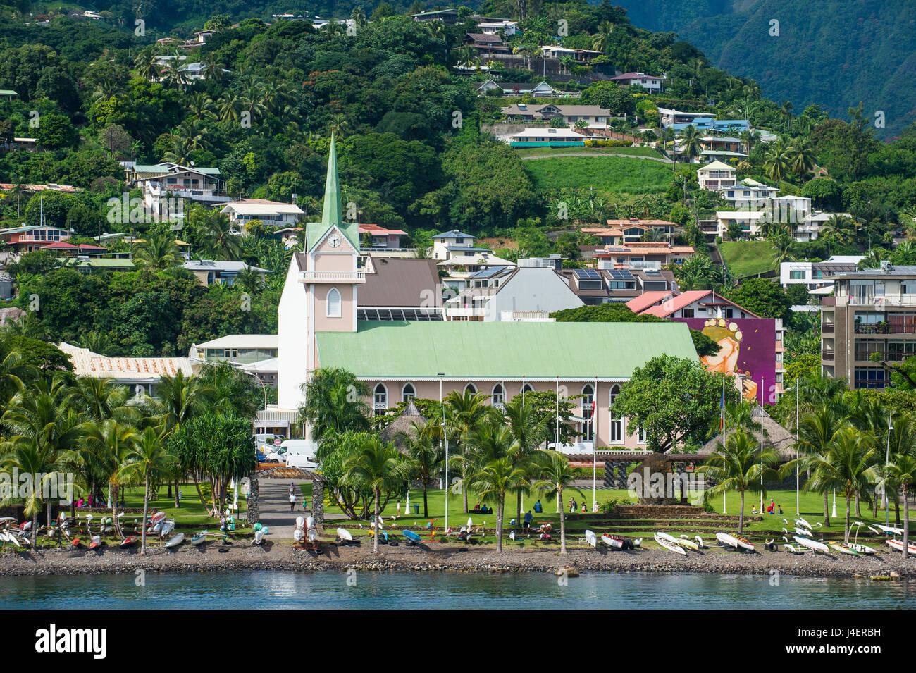 Centro de Papeete, Tahití, Islas Sociedad, Polinesia Francesa, el Pacífico Imagen De Stock