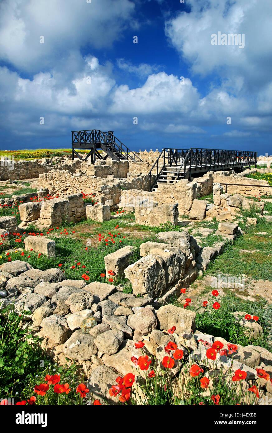 La 'Casa de Teseo' en el Parque Arqueológico de Paphos (Patrimonio de la Humanidad de la UNESCO) Chipre. Imagen De Stock