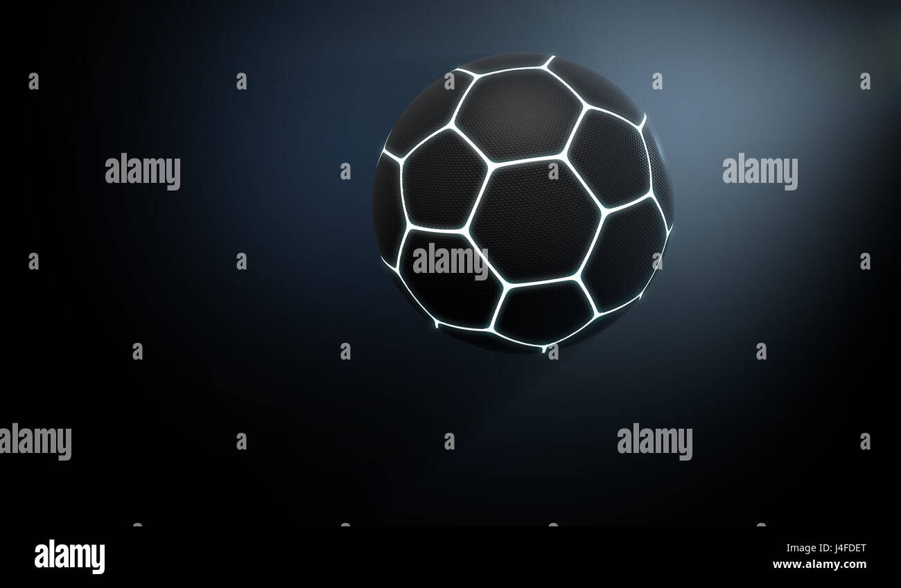 Un concepto deportivo futurista de un balón de fútbol con textura negro  iluminado con marcas de 0e6cf5b544664