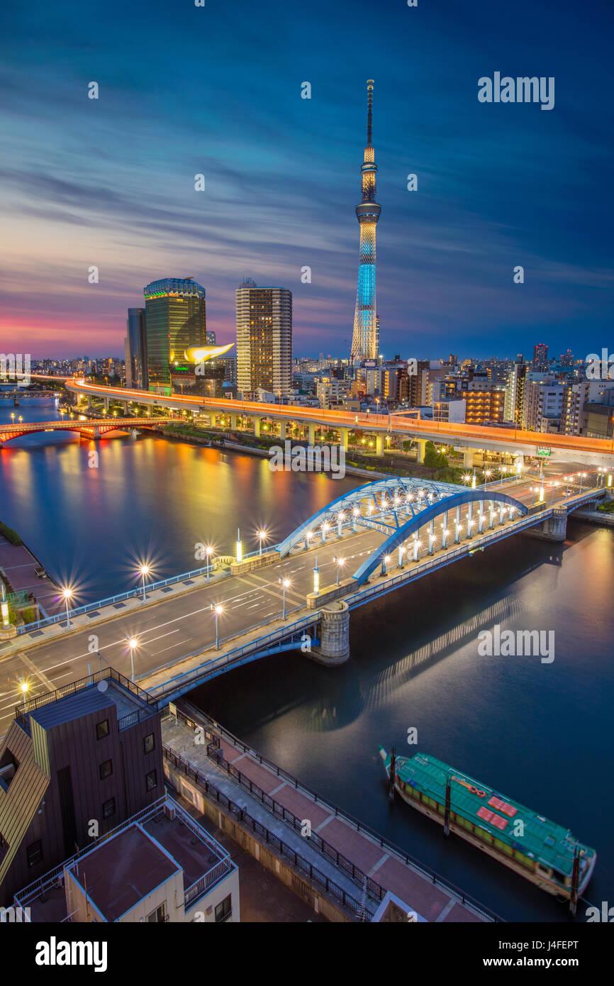 Tokio. Paisaje urbano imagen de horizonte de Tokio durante el crepúsculo en Japón. Foto de stock