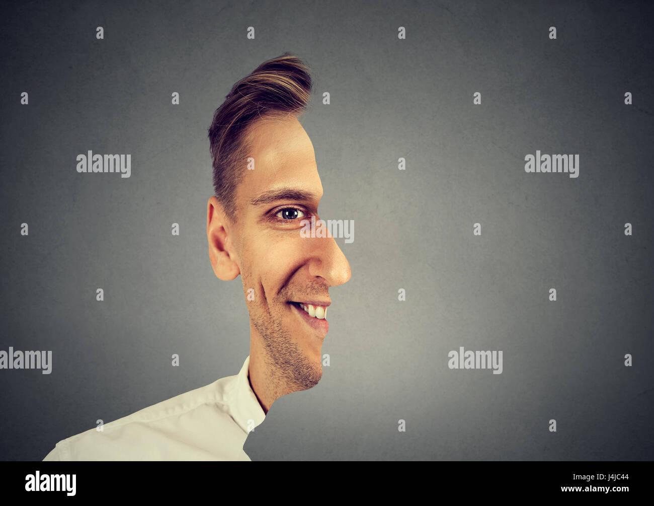 Retrato surrealista frente con recortar un perfil de hombre Imagen De Stock