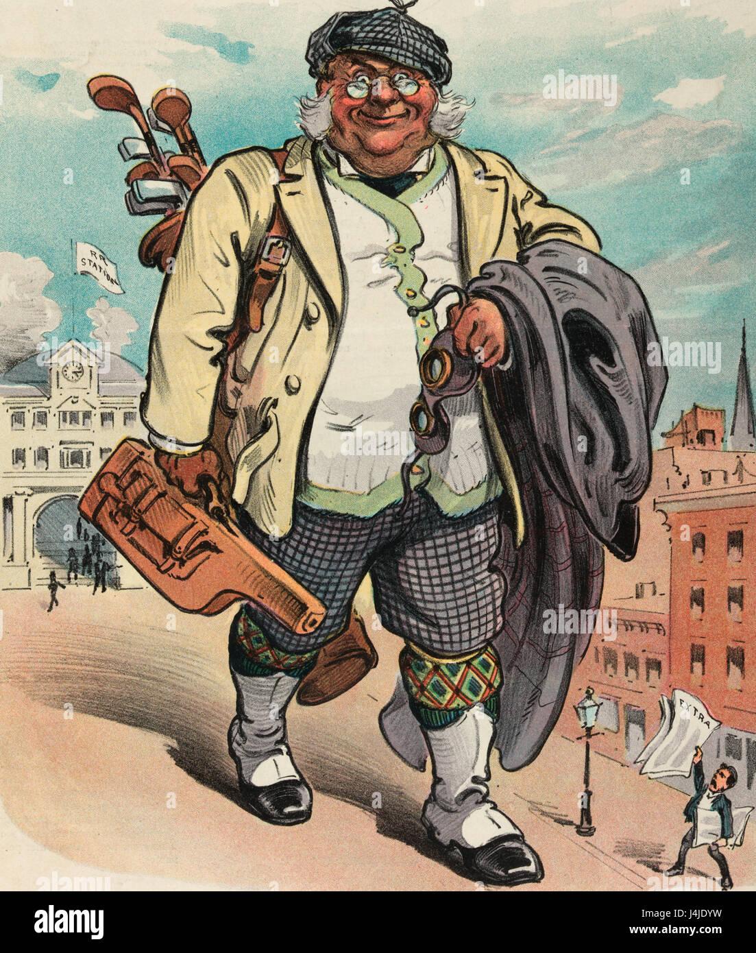 A la mañana siguiente - ilustración muestra un gran hombre llevan los palos de golf y una pequeña pieza de equipaje, Foto de stock