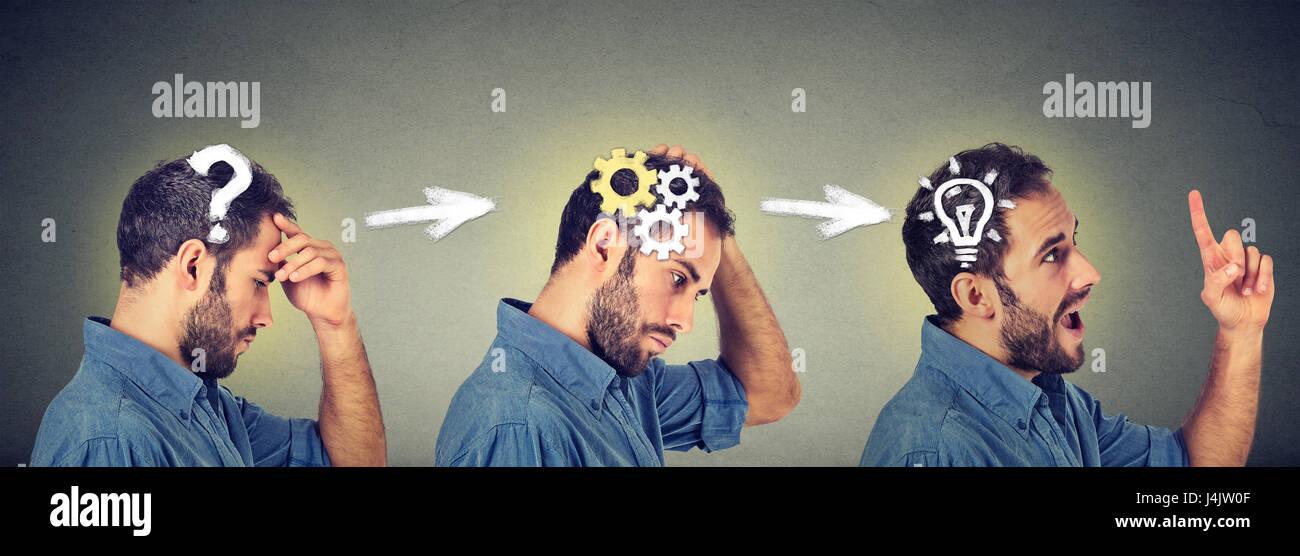Vista lateral de un perfil reflexivo, la búsqueda de soluciones, joven con la cuestión del mecanismo de Imagen De Stock