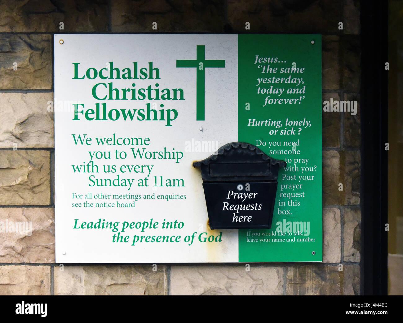 Tablón de anuncios, Lochalsh comunión cristiana. El Hall, Station Road, Kyle de Lochalsh, Ross y Cromarty, Imagen De Stock