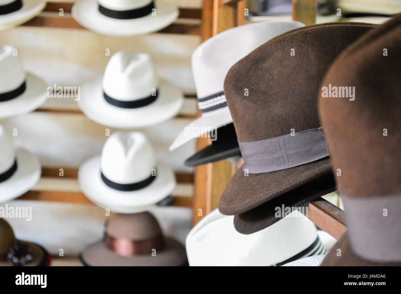 c929984e67e29 Vista de la esquina de la pantalla dentro de un sombrero de Panamá shop  Imagen De