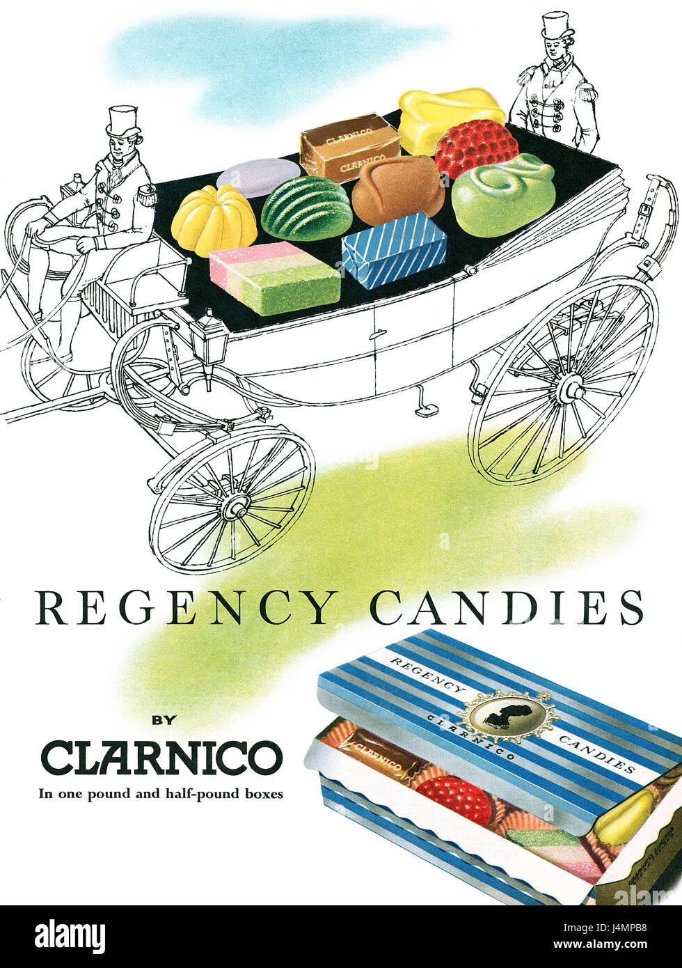1957 anuncio británico para Clarnico Regency caramelos. Imagen De Stock