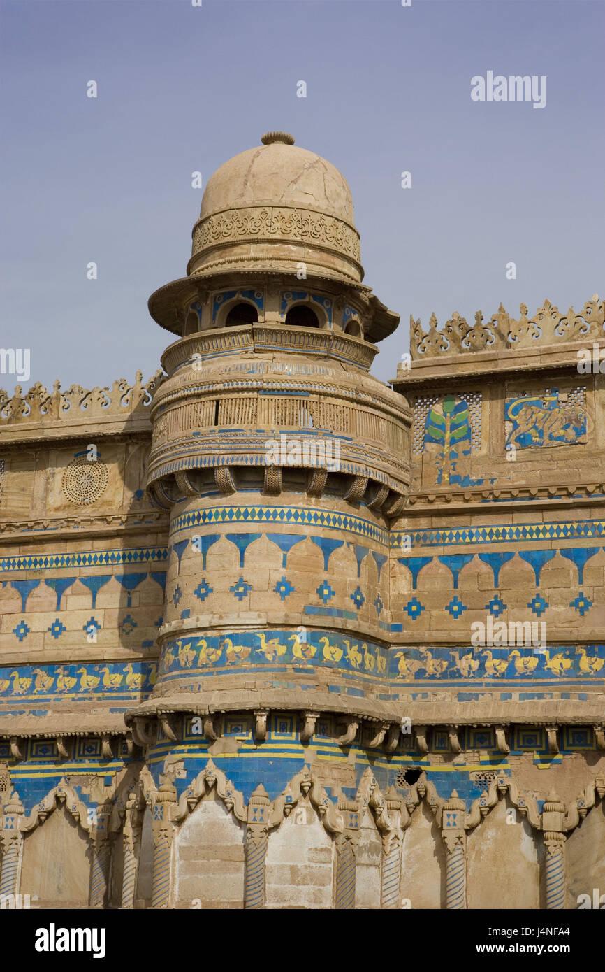 La India, Madhya Pradesh, Gwalior, Fort, fachada, detalle Foto de stock