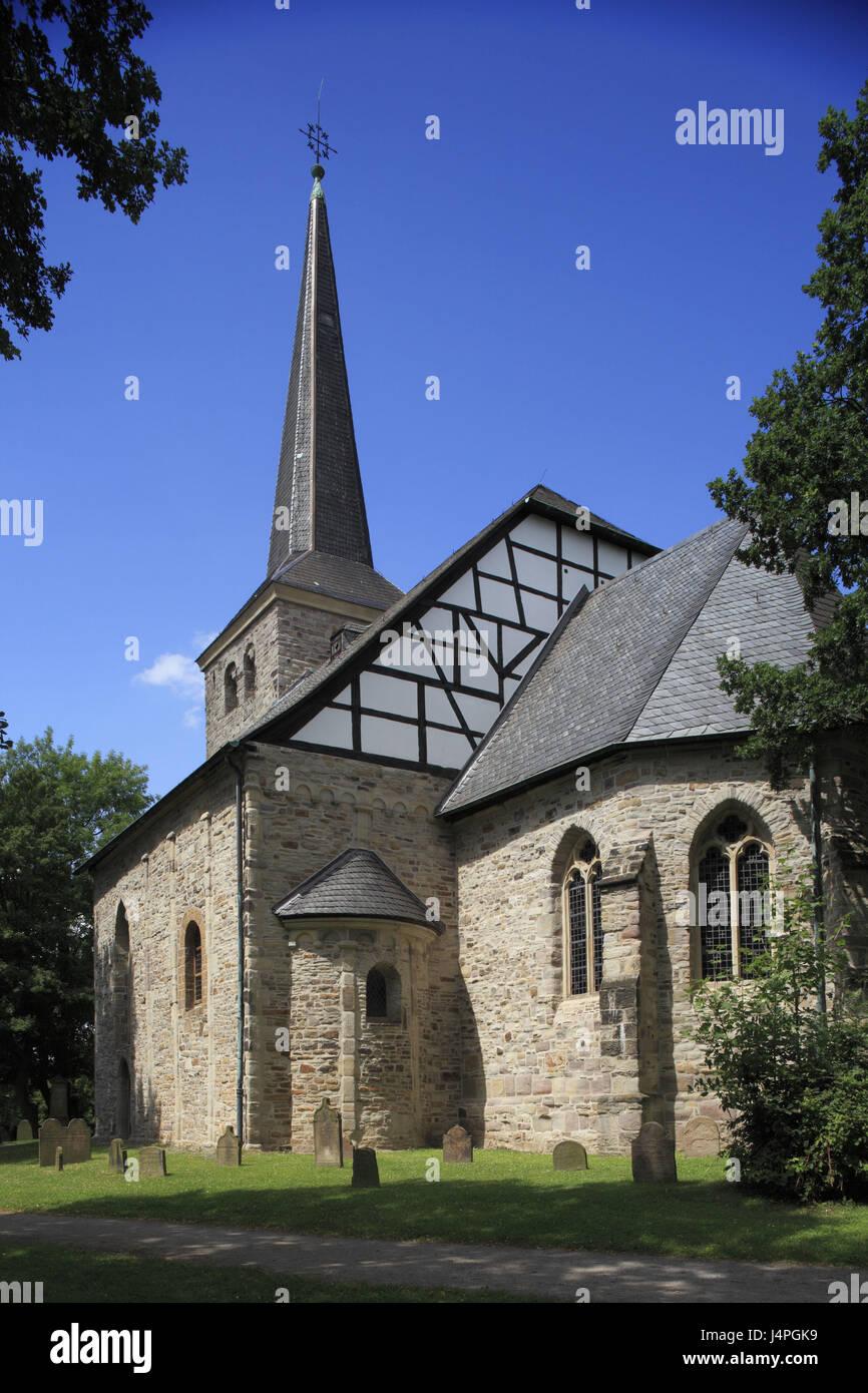 Alemania, en Renania del Norte-Westfalia, aldea Stiepeler Bochum-Stiepel, iglesia, Foto de stock