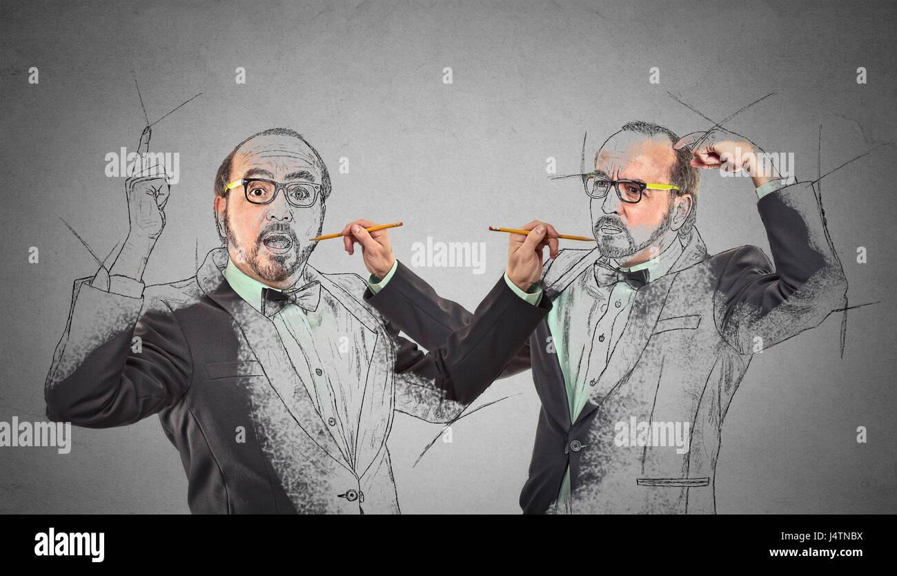 Crear usted mismo, su destino futuro, imagen, concepto de carrera. Dibujo de un hombre de mediana edad, Boceto de Imagen De Stock