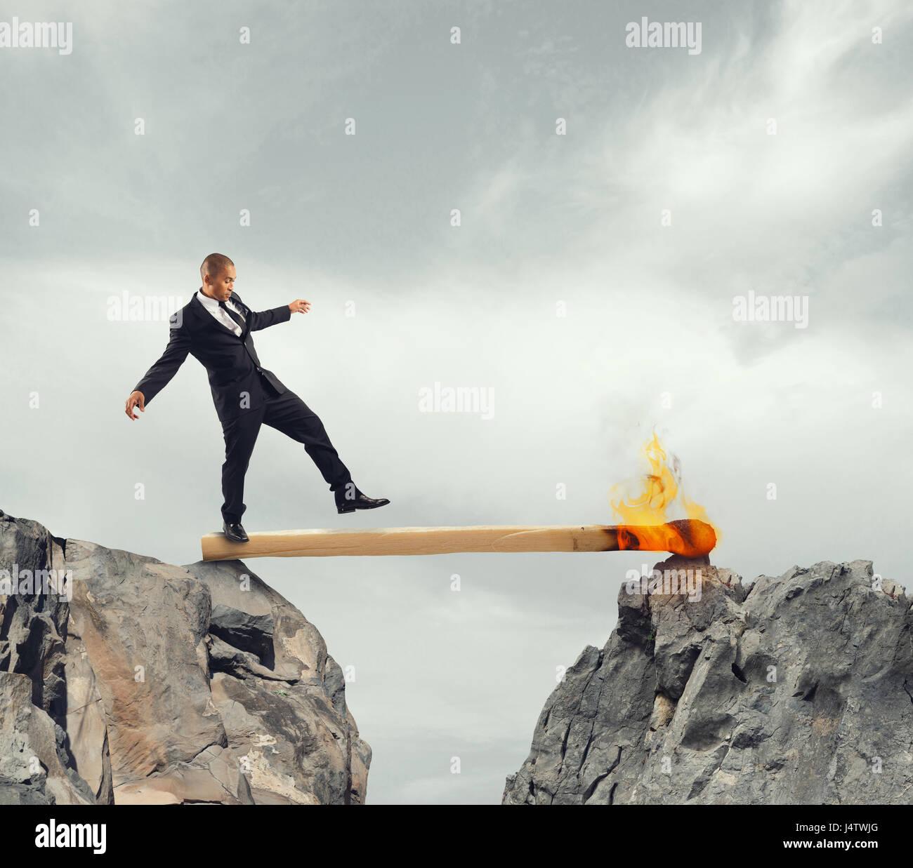 La inestabilidad y el miedo de los obstáculos a vencer Imagen De Stock