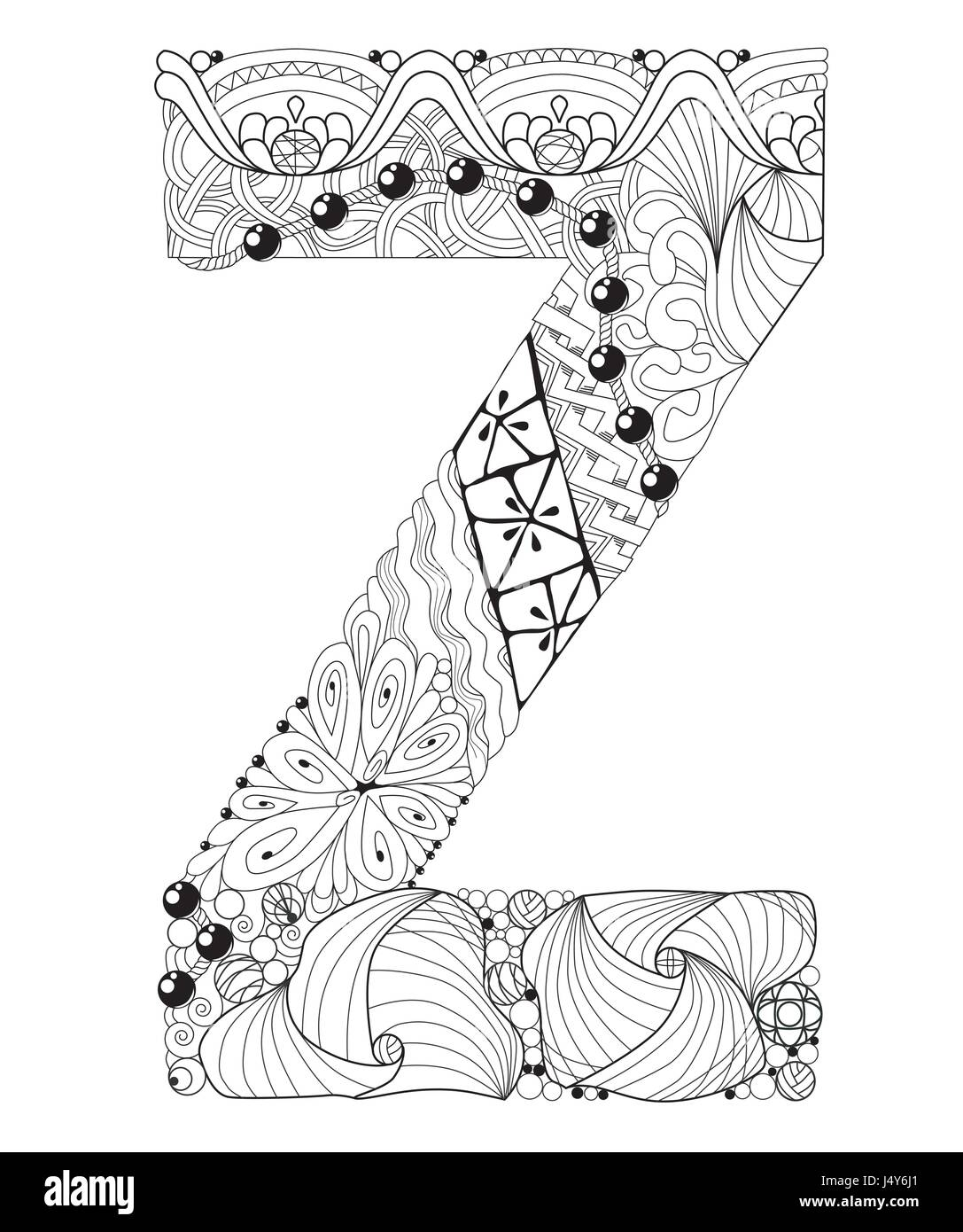 Letra Z Para Colorear Vector Zentangle Objeto Decorativo