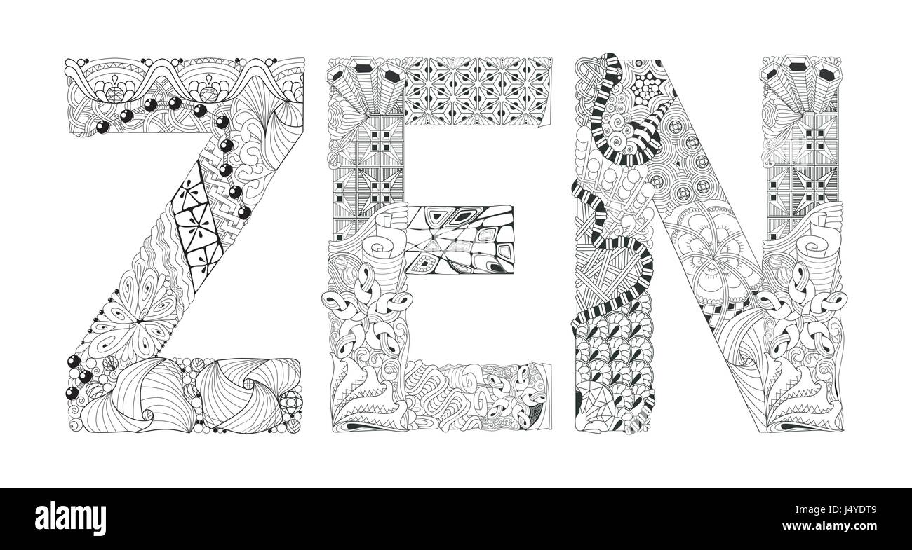 Word Zen Para Colorear Vector Zentangle Objeto Decorativo