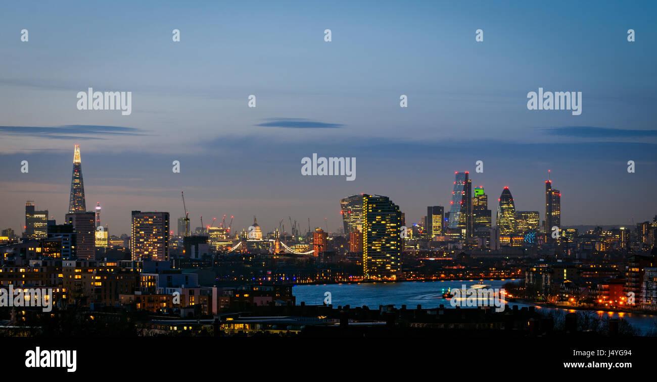 Londres, silueta de Greenwich Foto de stock