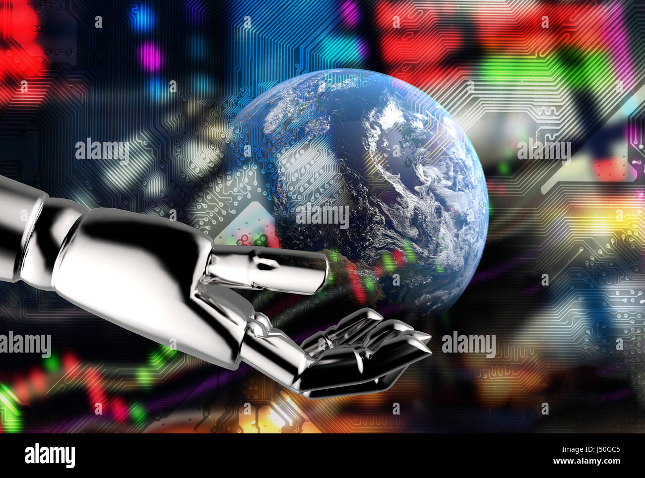 Comunicación cibernética , robot world , Fintech y robo advisor en la bolsa concepto finanzas.3D rendering Robot Foto de stock