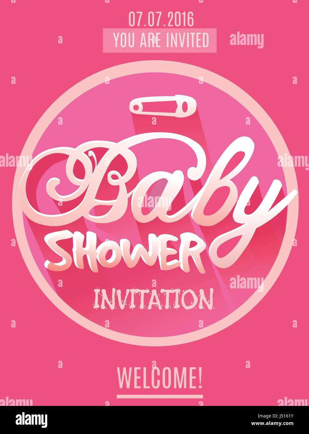 Vector De Invitación Para Baby Shower Niña Color Rosa
