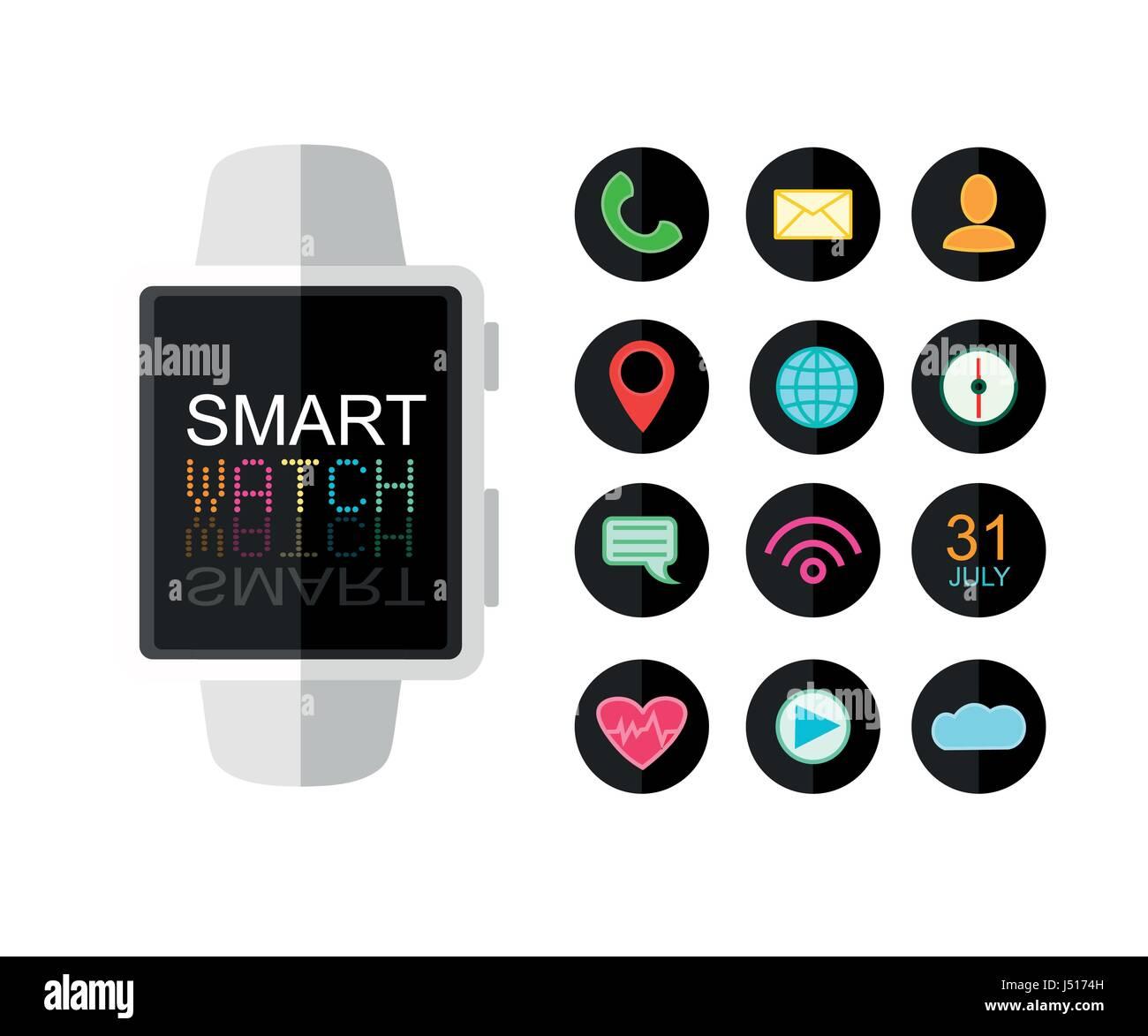 La Inteligente Para De Reloj App Modernoconjunto Iconos Ltfj3uk1c Lj4RqSc35A