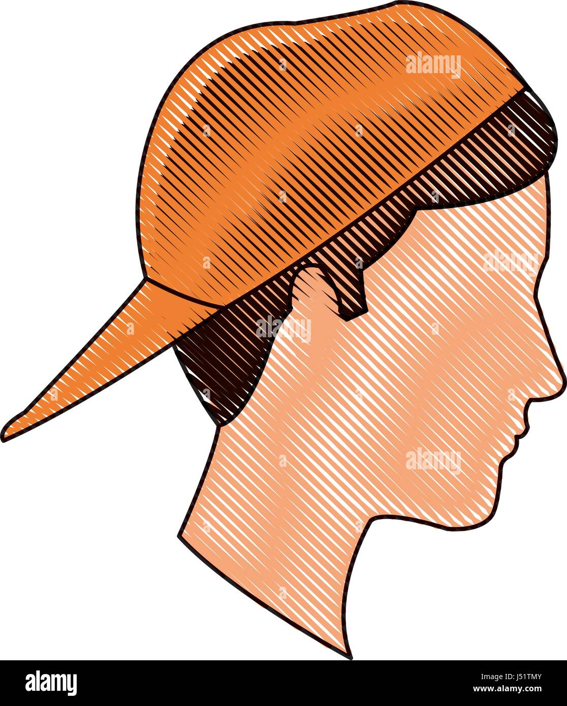 Dibujo De Cabeza De Perfil Joven Tapa Naranja Ilustración Del Vector