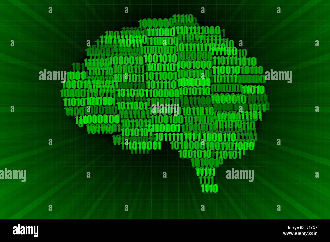 Verde sobre negro cerebro Digital ilustración del concepto Imagen De Stock