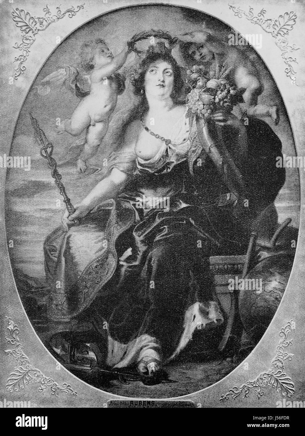 Retrato de María de Médicis después de una pintura de Peter Paul Rubens, siglo XVII. María de Imagen De Stock