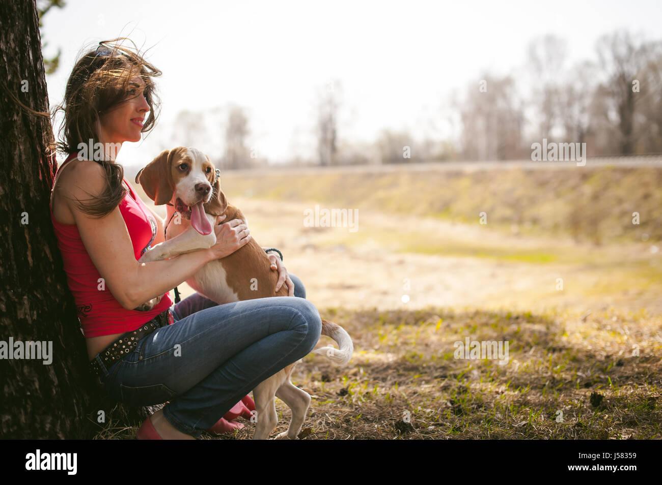 Jóvenes de razas de perro Beagle caminar en el parque al aire libre. Mujer camina con cuidado cachorro, reproduce Imagen De Stock
