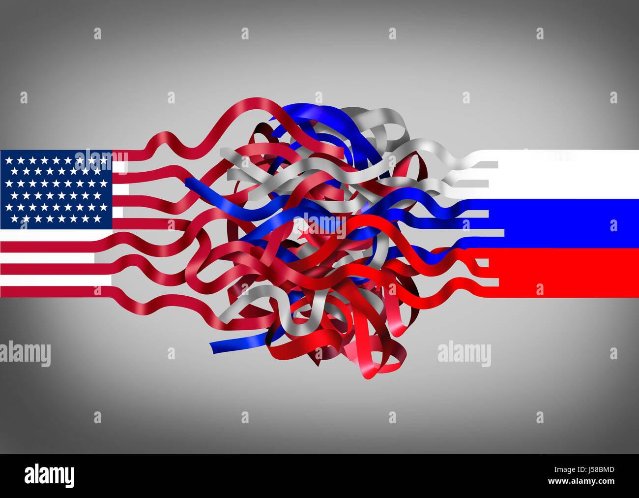 Rusia Estados Unidos crisis como una bandera americana mezclada con un símbolo de Rusia como un desafío Imagen De Stock