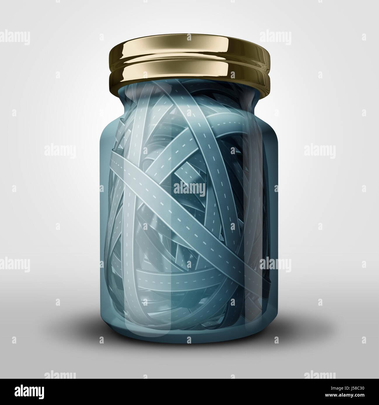 Atasco de tráfico y transporte claustrofobia concepto como una botella de vidrio sellado con enredados caminos Imagen De Stock