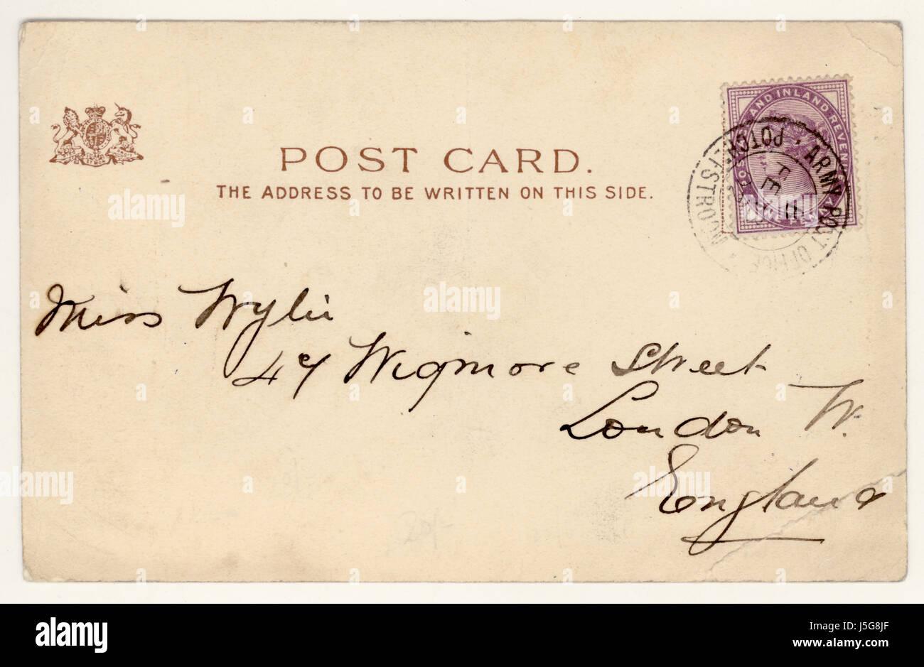 Reverso de la postal original publicada desde Potchefstroom, Sudáfrica hacia el final de la guerra de los Bóer, Foto de stock