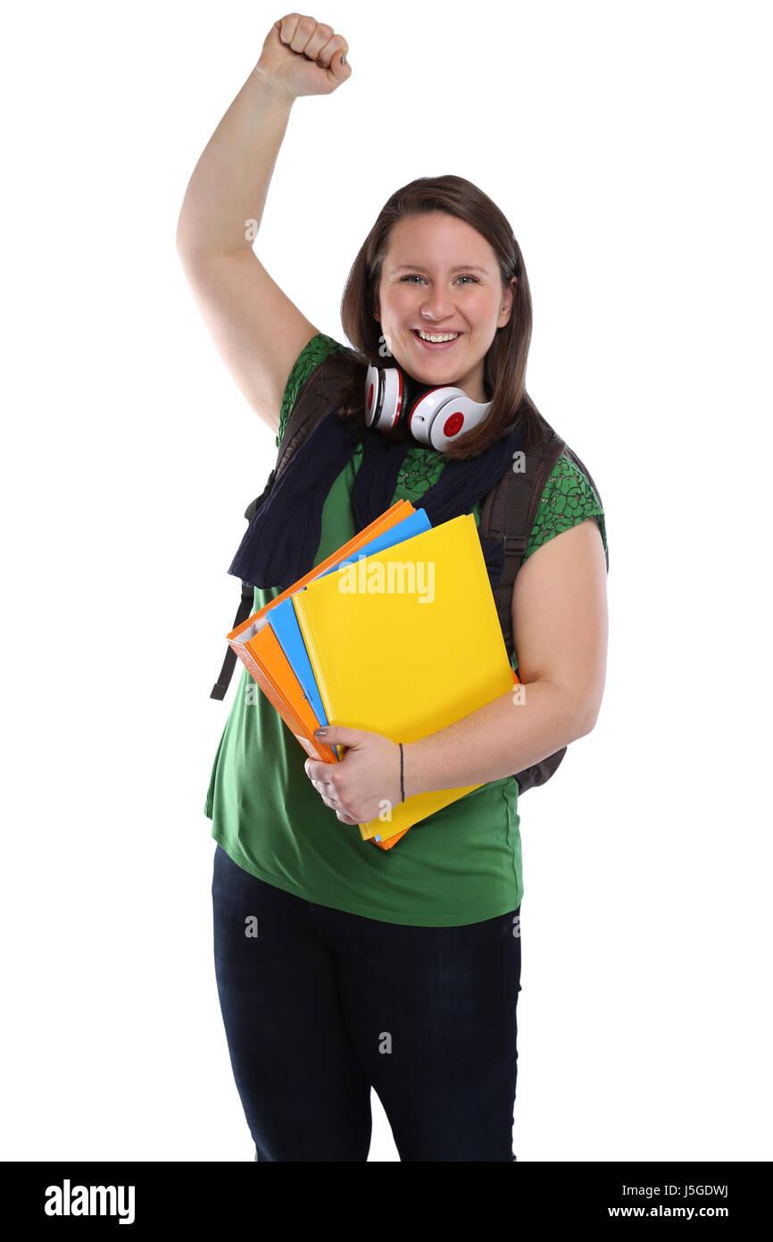 Exitoso estudiante éxito feliz felicidad joven retrato pueblo aislado en un fondo blanco. Foto de stock