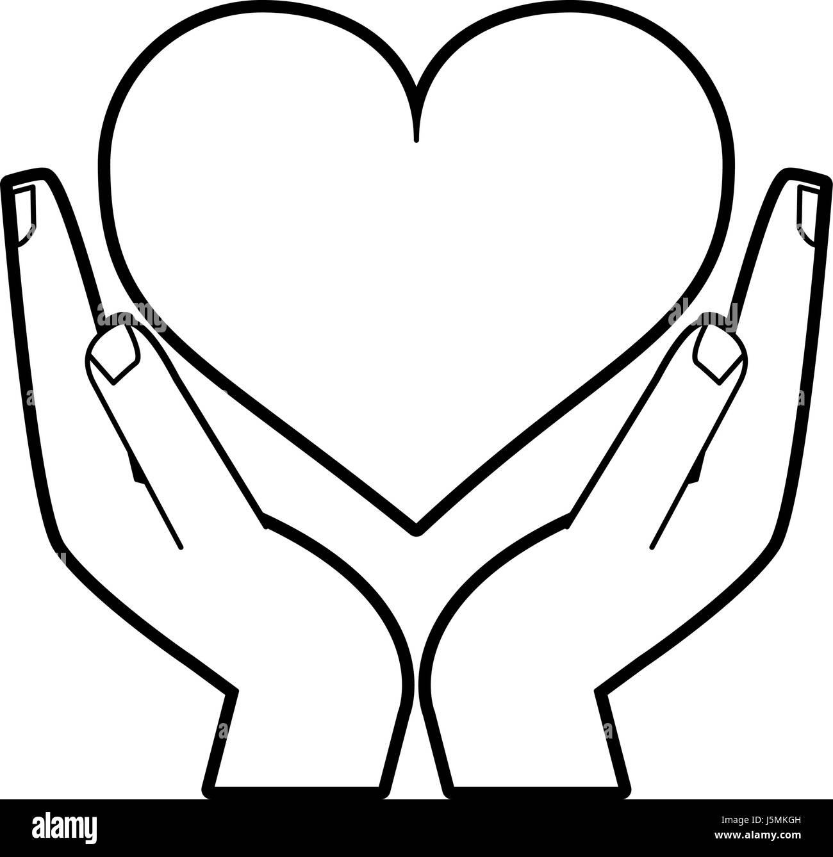 Dibujo Silueta Manos Sosteniendo Un Corazón Ilustración Del Vector