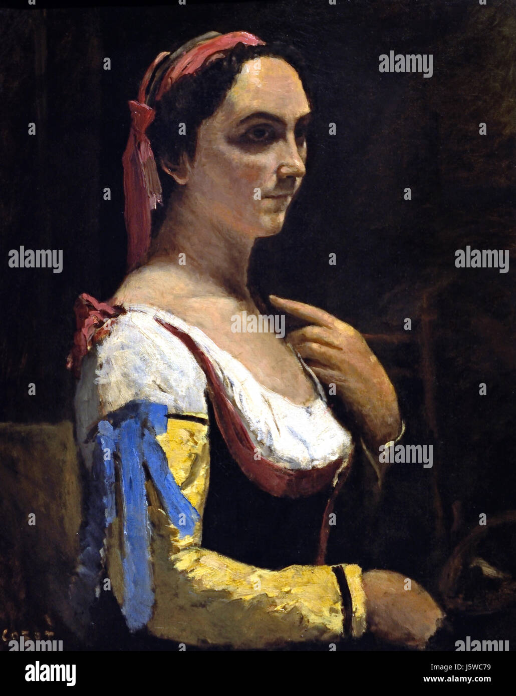 Mujer vestida de azul corot