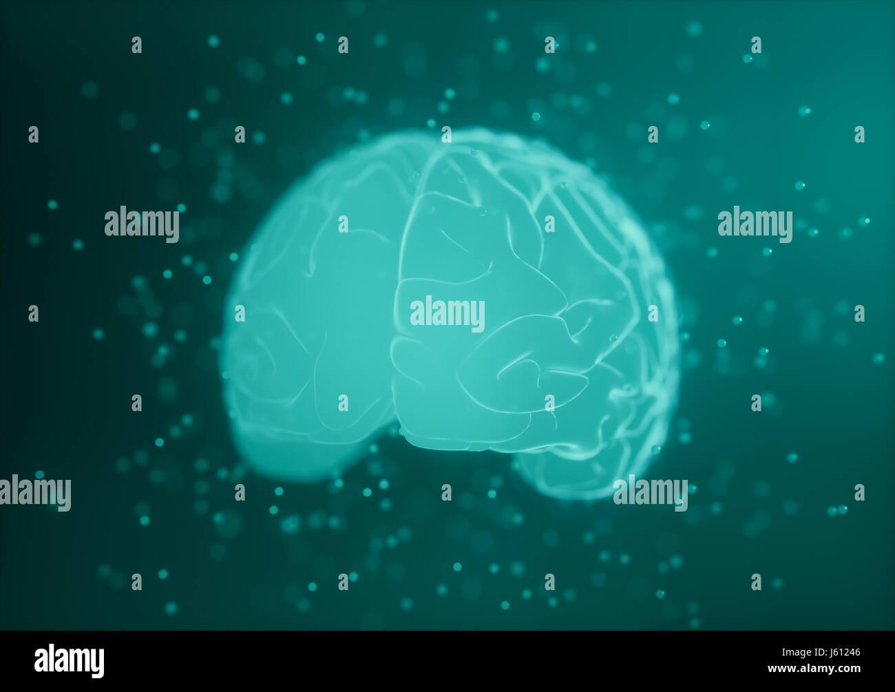Ilustración 3D. Imagen estilizada de un cerebro dentro de un líquido con burbujas de aire alrededor. Foto de stock