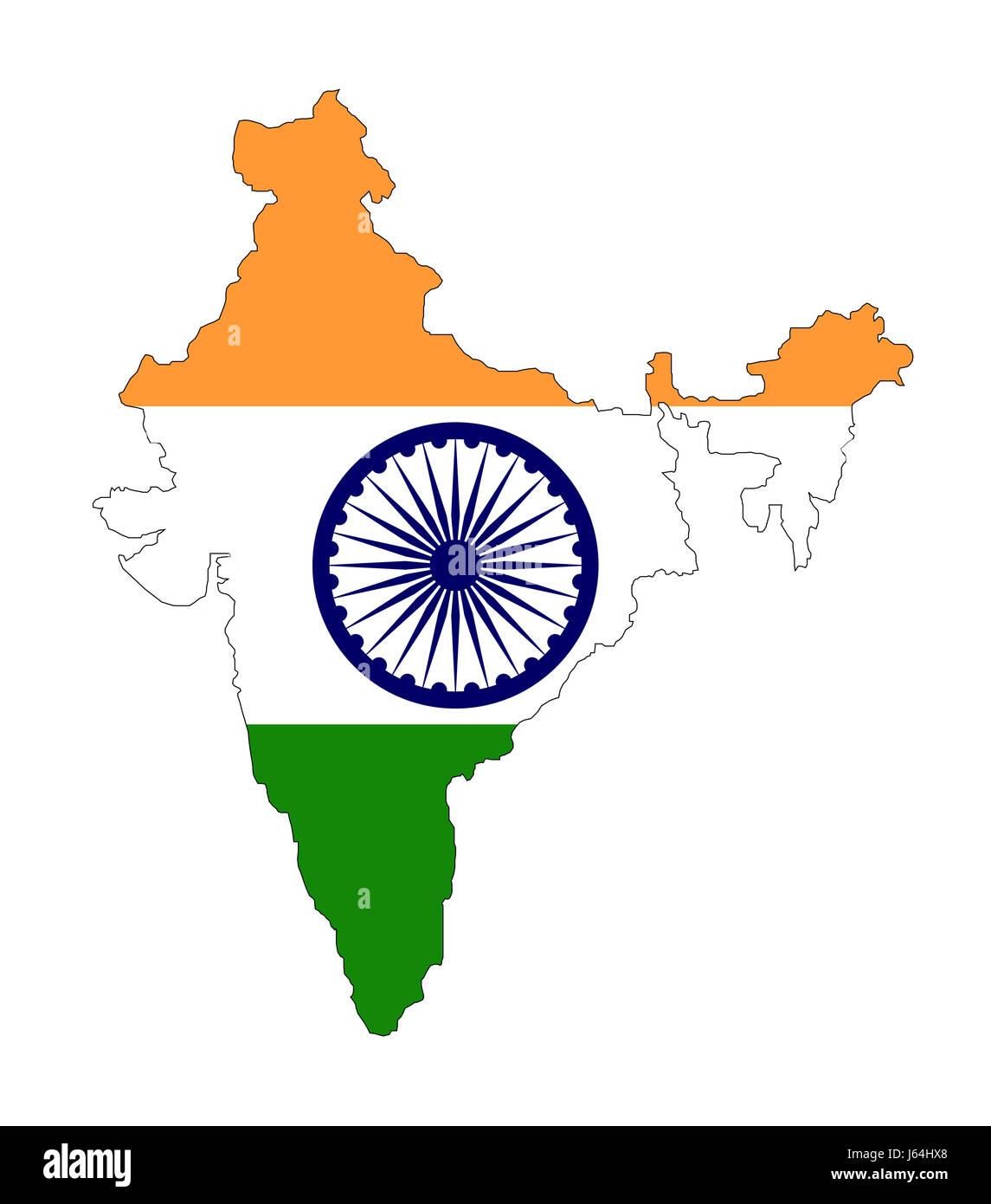 Mapa De La India En El Mundo.Asia India Bandera Mapa Atlas Mapa Del Mundo Asia India