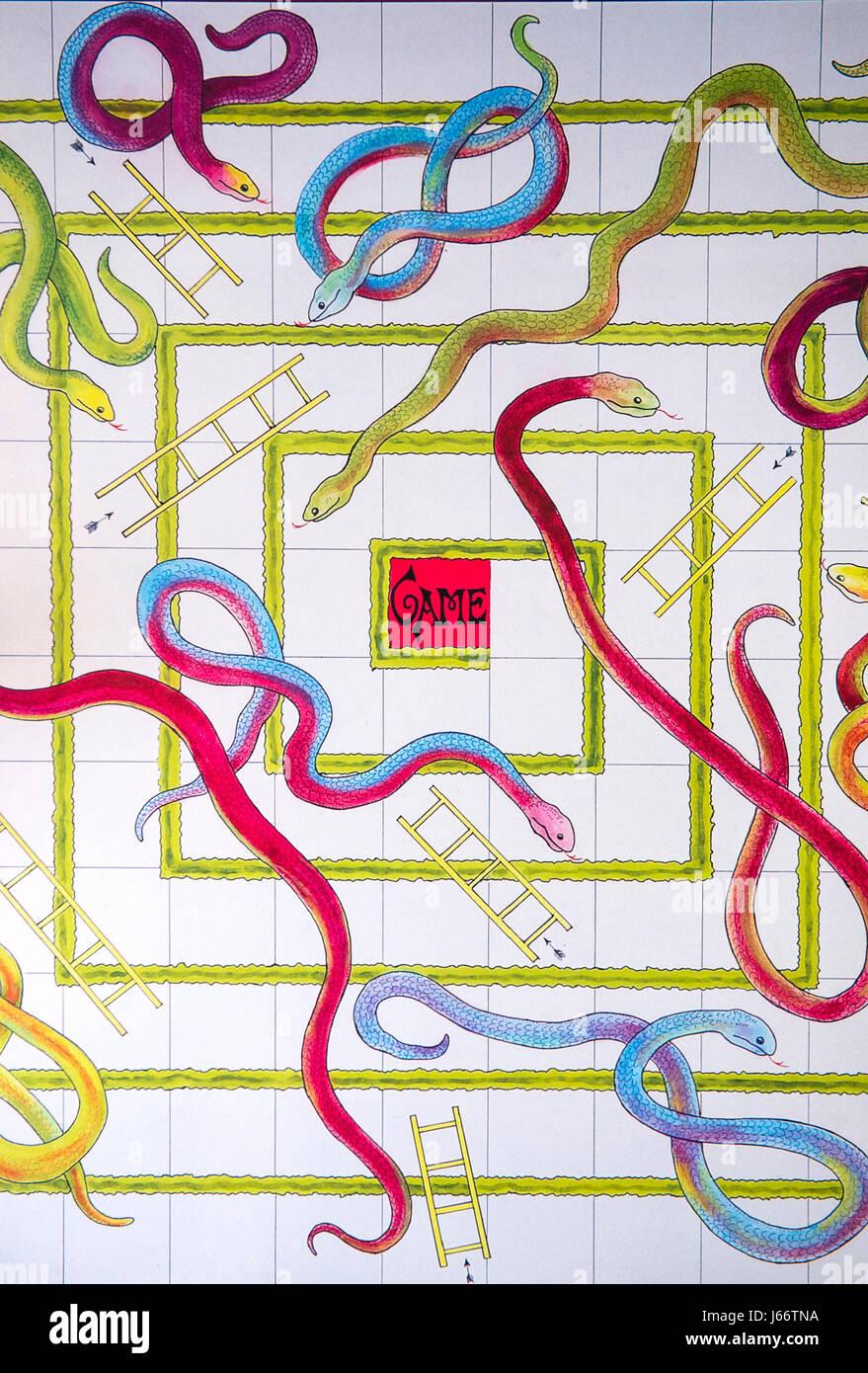 Detalle De Un Juego De Mesa De Serpientes Y Escaleras Foto Imagen
