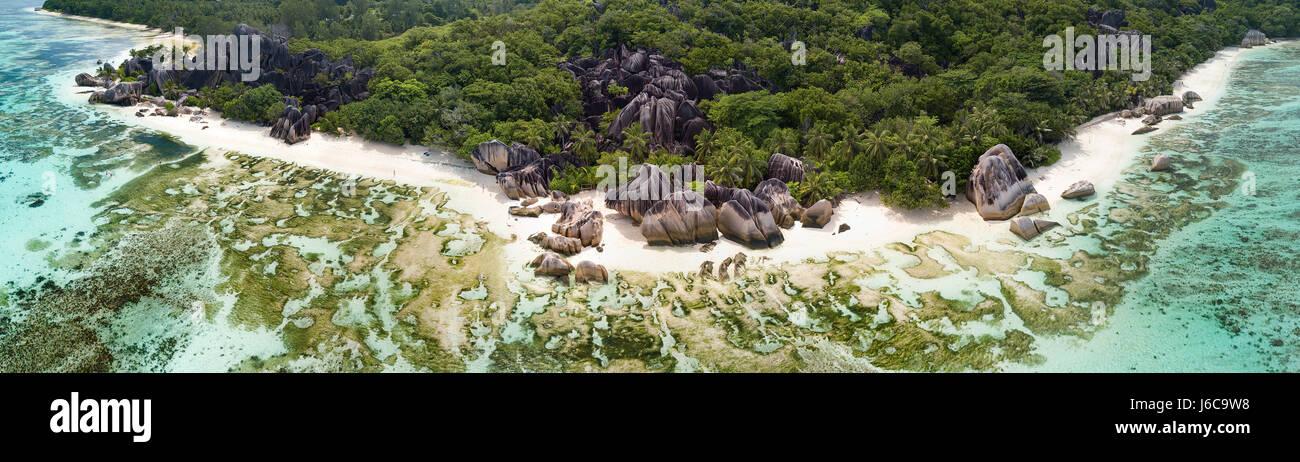 Vista aérea de la Digue, Seychelles Imagen De Stock
