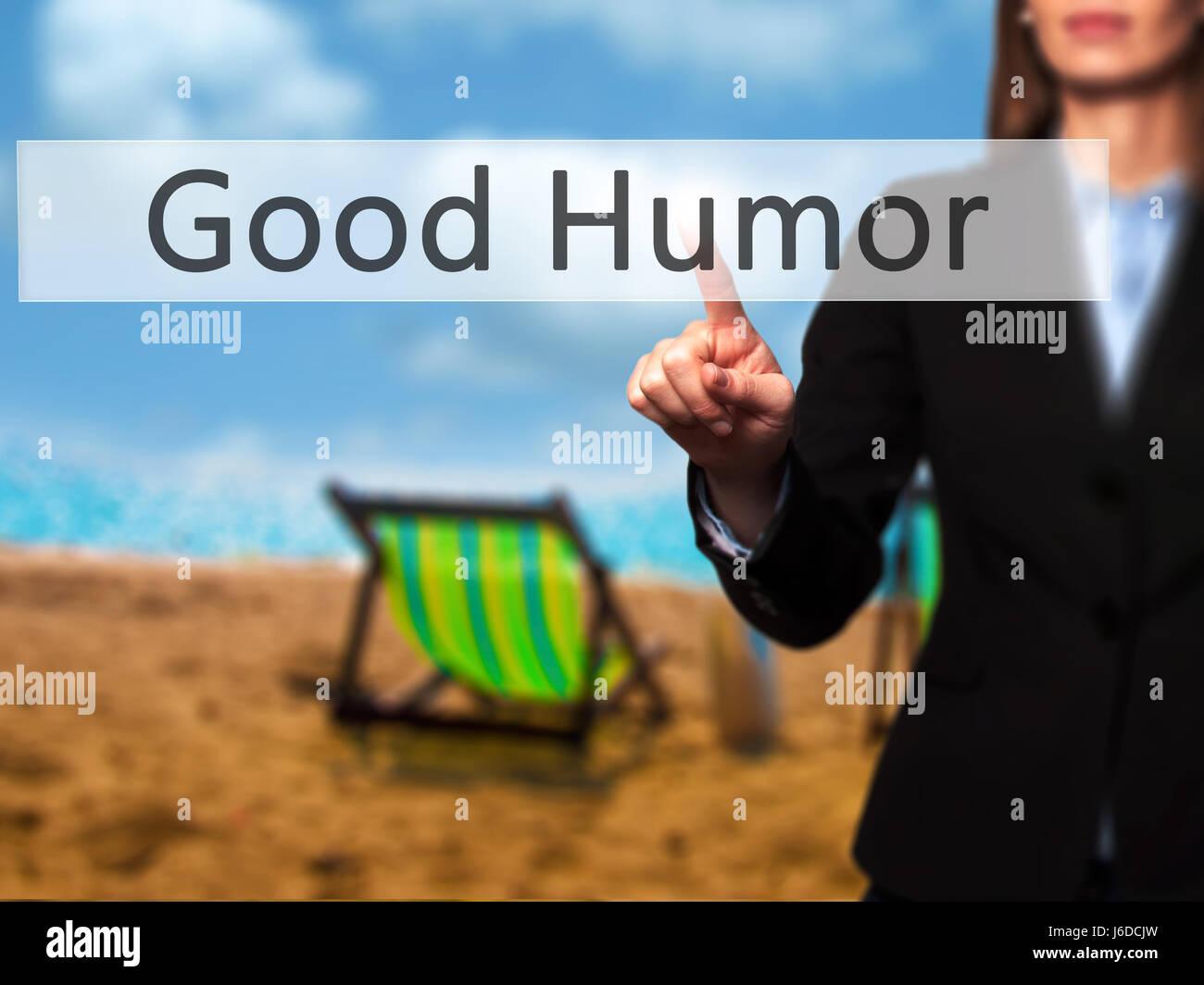 Buen Humor - Empresaria mano pulsando el botón en la interfaz de pantalla táctil. Negocios, tecnología, Imagen De Stock