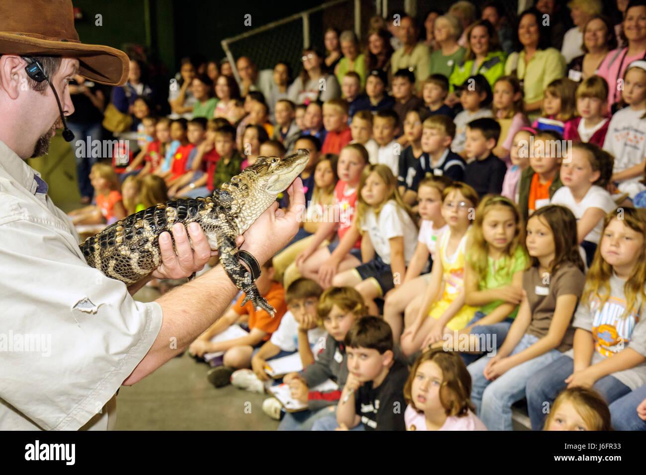 Sevierville, Tennessee Rainforest AdventuresTropical descubrimiento zoológico cocodrilo juvenil estudiantes Imagen De Stock