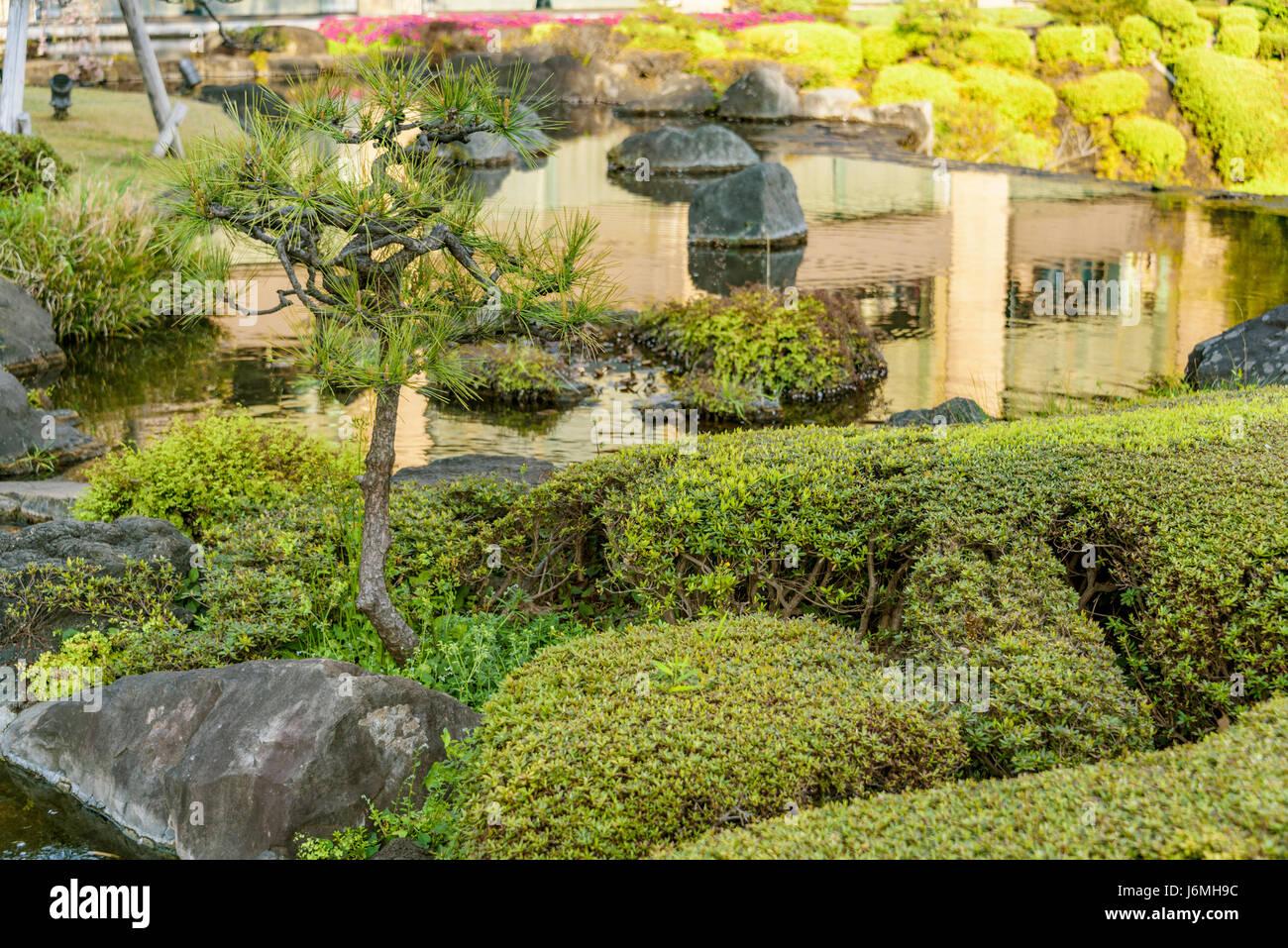 New Otani Hotel jardines japoneses.típico jardín japonés en el centro de Tokio. Imagen De Stock