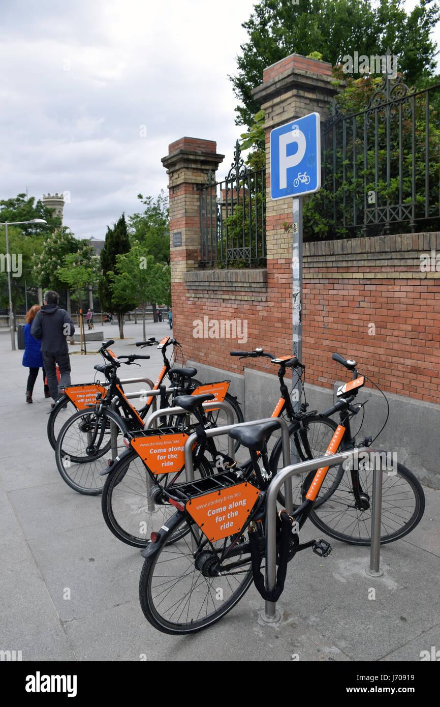 Plan de alquiler de bicicletas, Madrid, España Imagen De Stock