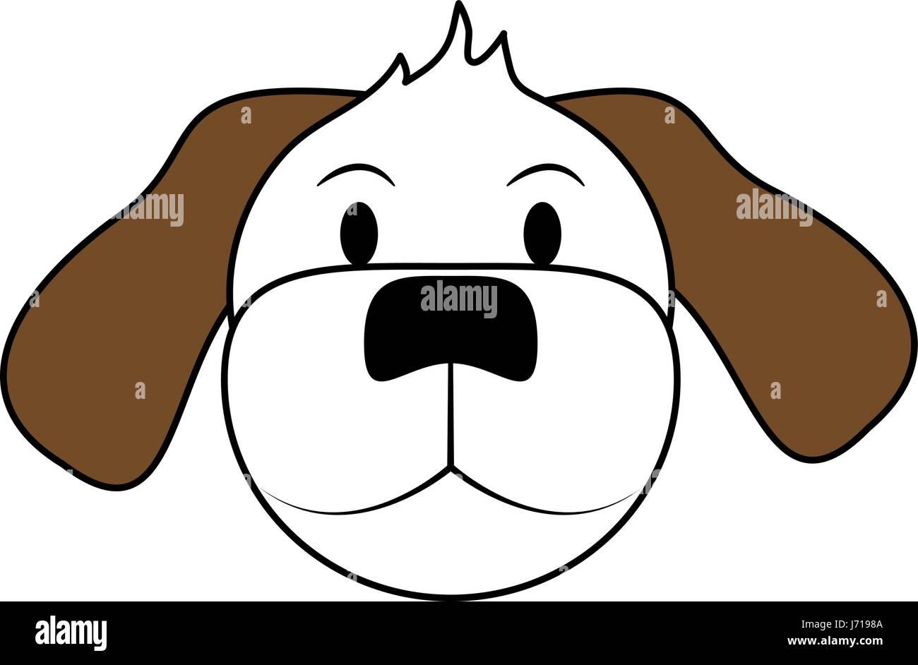 Silueta Blanco Y Marrón De Cartoon Vista Frontal Face Dog