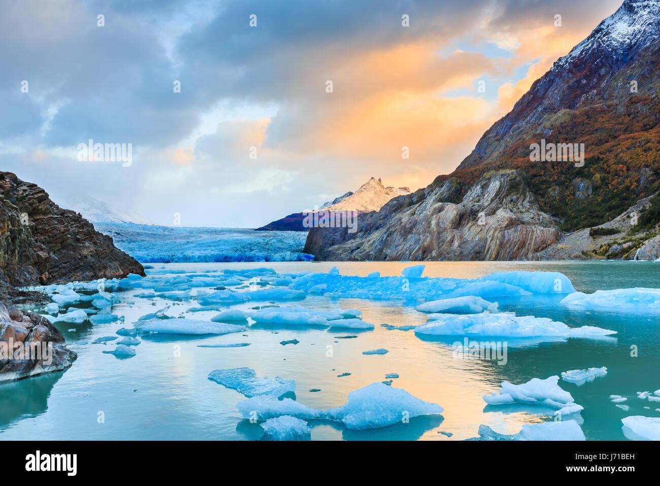 Parque Nacional Torres del Paine, Chile. Glaciar Grey. Imagen De Stock