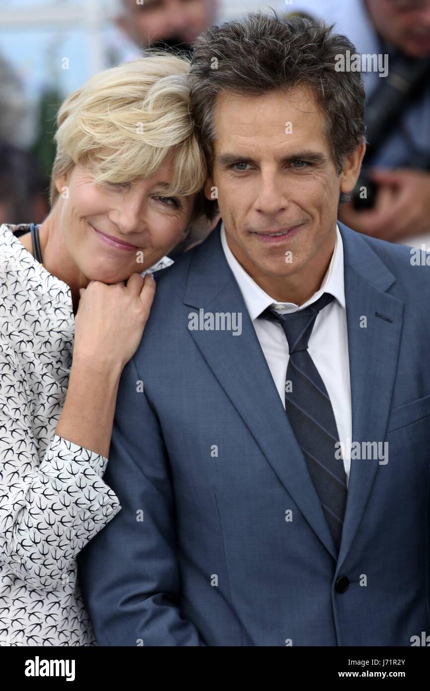 Cannes, Frankreich. 21 de mayo, 2017. Emma Thompson y Ben Stiller en 'Las historias de Meyerowitz' photocall Imagen De Stock