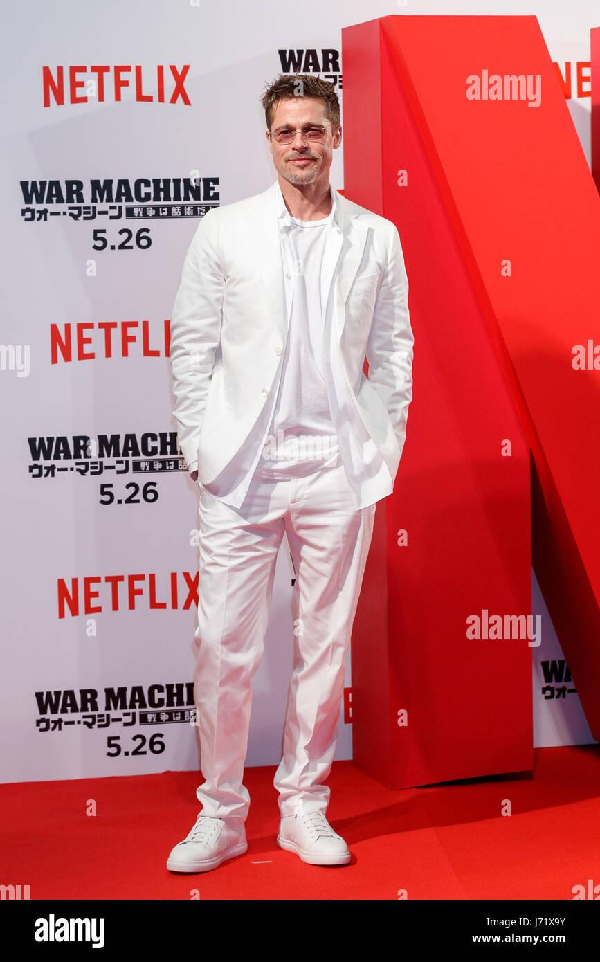 Tokio, Japón. 23 Mayo, 2017. El actor norteamericano Brad Pitt posa para las cámaras durante el Japón Imagen De Stock