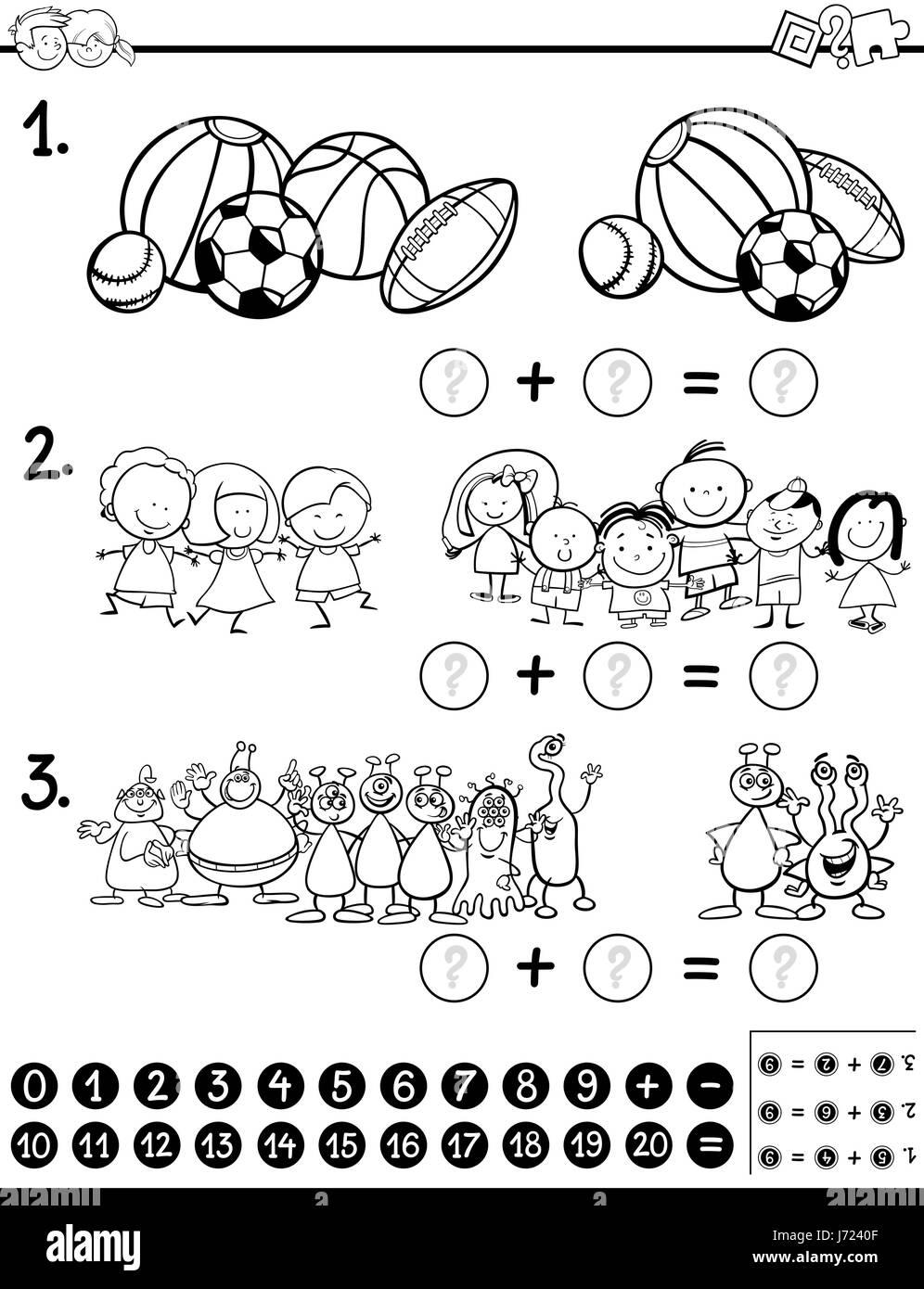 Ilustración Caricatura En Blanco Y Negro De La Actividad Matemática
