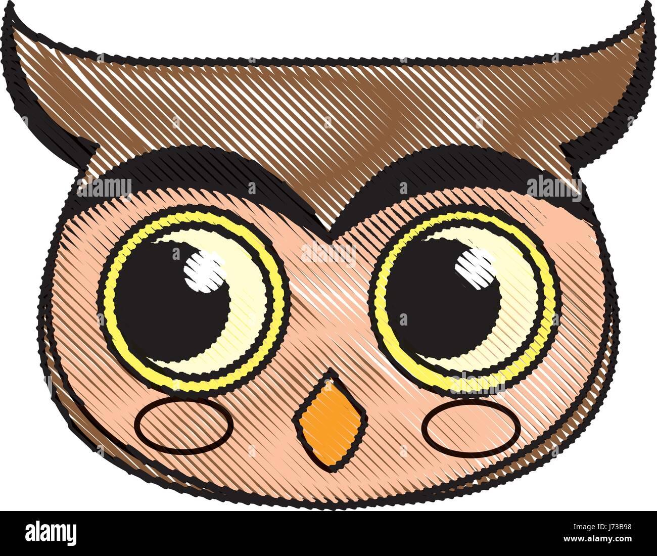 Carácter Pájaro Buho Cara De Dibujo Ilustración Del Vector Imagen