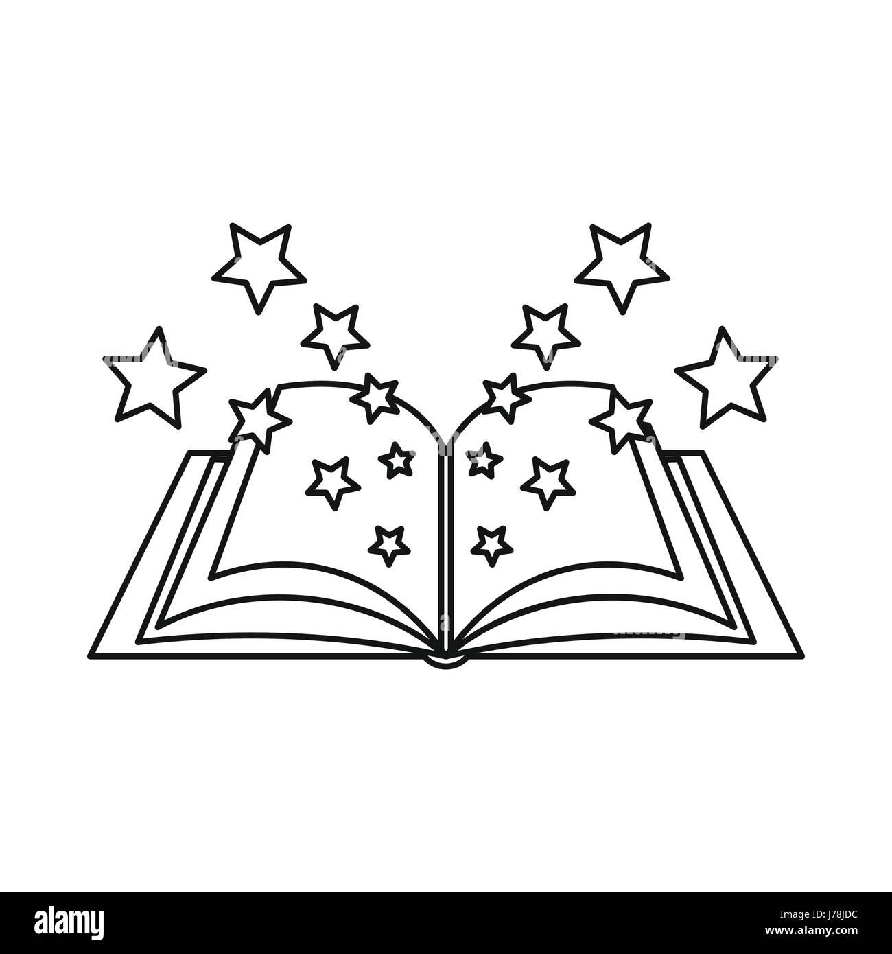 Icono De Libro De Magia En El Estilo De Esquema Aislado Sobre Fondo