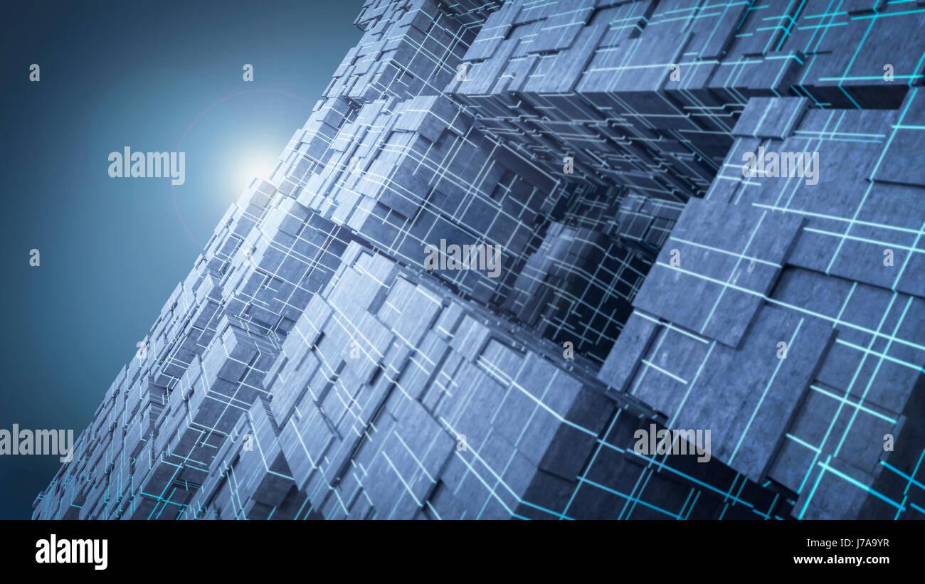 La luz brilla por encima de los cubos, futurista en 3D rendering Imagen De Stock